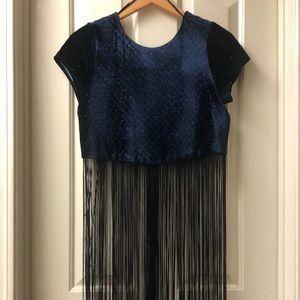 Zara Fringe Crop Top (S) Basic Collection